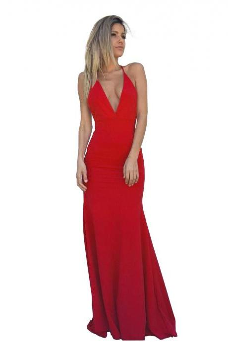 Red Deep V Neck Jersey Fitted Formal Gown, Backless Evening Dress With Spaghetti Straps