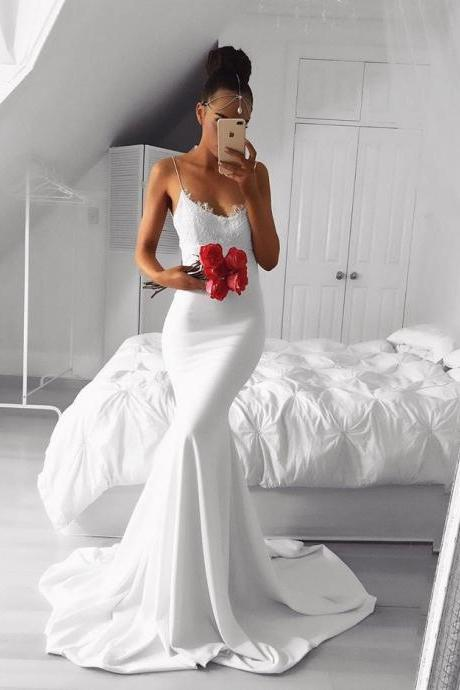White Strapless Mermaid Formal Gown, Wedding Party Dress With Lace Bodice