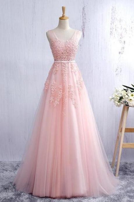 Princess Pink Plunging V Neck A Line Tulle Prom Dress,Open Back Long Party Dress With Lace Appliques Bodice