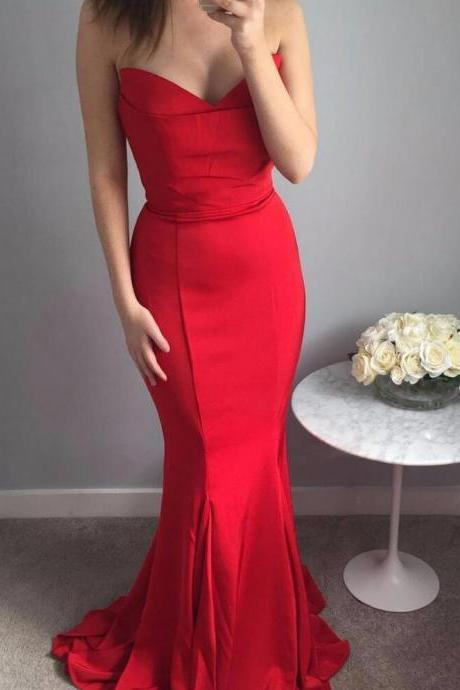 Elegant Sweetheart Prom Dress Red, Mermaid Formal Evening Gown,Bridesmaid Dress With Sweep Train