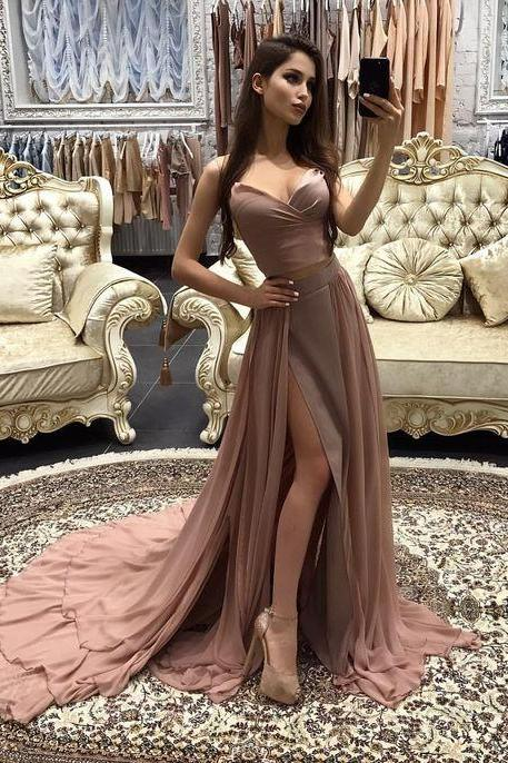 Sexy Two Piece Long Prom Dress,High Slit Formal Evening Gown,Maxi Party Dress With Sweep Train