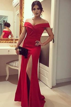 2018 Elegant Red Fit And Flare Prom Dress Off The Shoulder Formal Evening Gown With Side Slit
