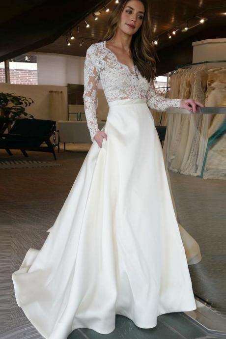 Elegant Ivory V Neck A Line Wedding Dress Long Sleeve Satin Bridal Gown With Lace Top