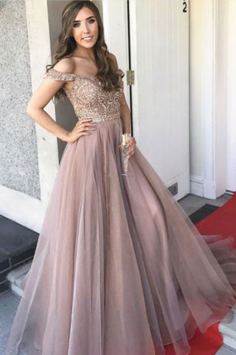 Beaded A Line Tulle Prom Dress Off The Shoulder Formal Evening Gown For Military Ball