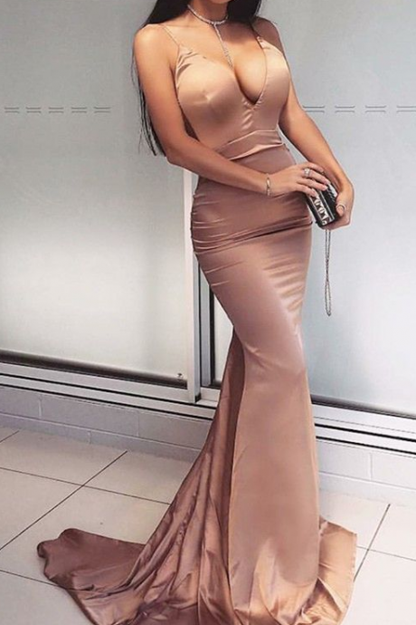 Sexy V Neck Mermaid Prom Dress Sleeveless Long Party Dress For Formal Dance